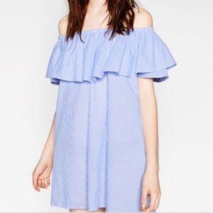 Zara Seersucker Off-the-shoulder Dress - Small